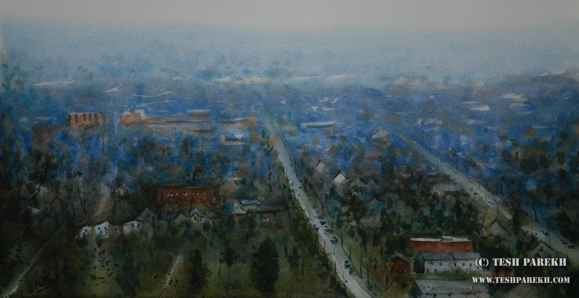 Easter mist over Raleigh. 11x21. Watercolor on paper.