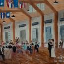 Ashley & Ben. 16x20 live wedding painting. Watercolor.