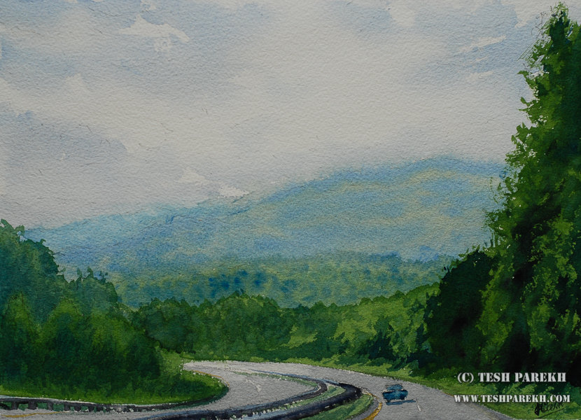 "North Carolina Fine Artist – ""Road to Asheville"" watercolor painting"