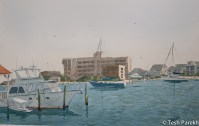 Wrightsville Beach. Plein air. Watercolor painting on paper.