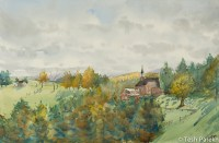 Afternoon, Galax VA. Watercolor painting on paper.