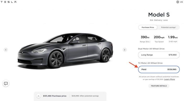 Tesla повысила цену Model S Plaid на 10 тысяч долларов в преддверии мирового дебюта