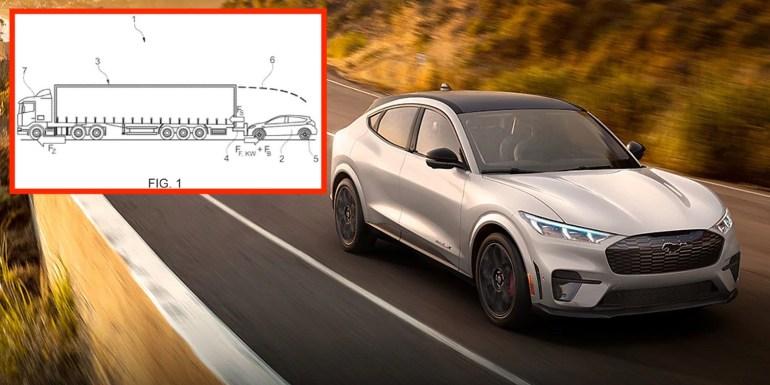 Ford патентует мобильную зарядку для электромобилей, таких как Mach-E, - буксируя их
