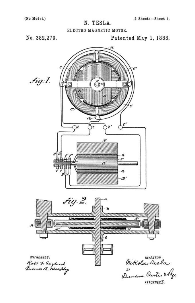 Nikola Tesla Patente de EE. UU. 382,279 - Motor electromagnético - Imagen 1