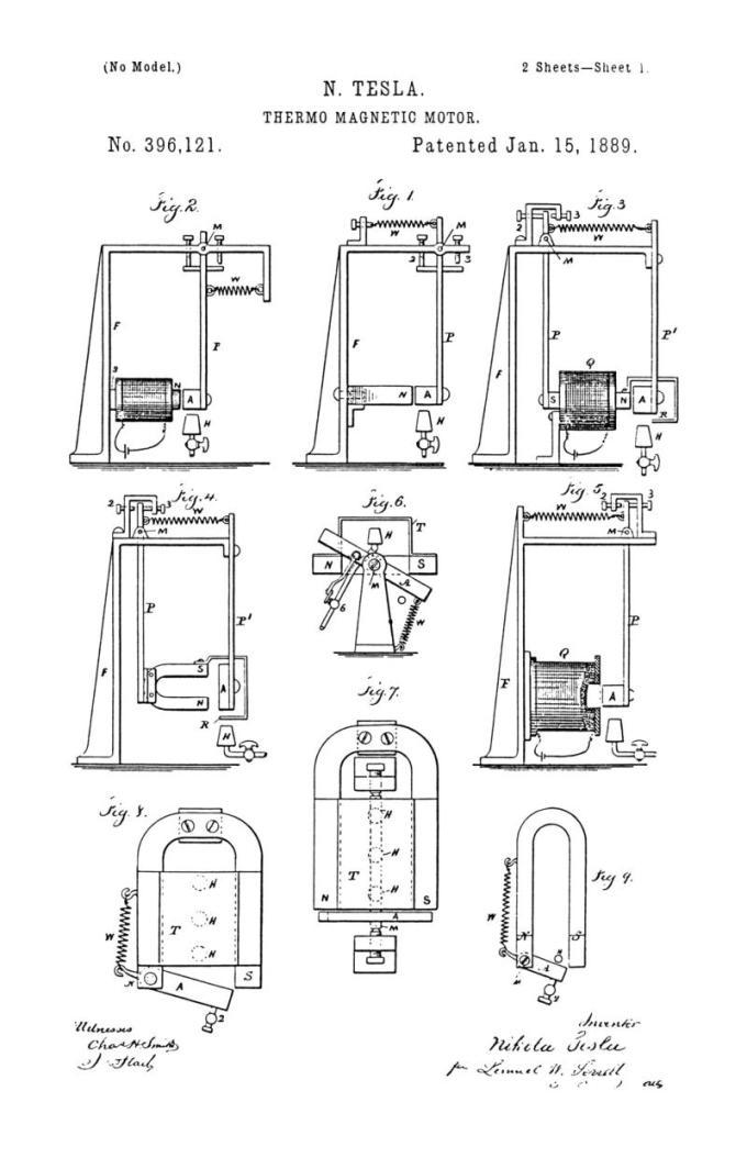 Nikola Tesla Patente de EE. UU. 396,121 - Motor termo-magnético - Imagen 1
