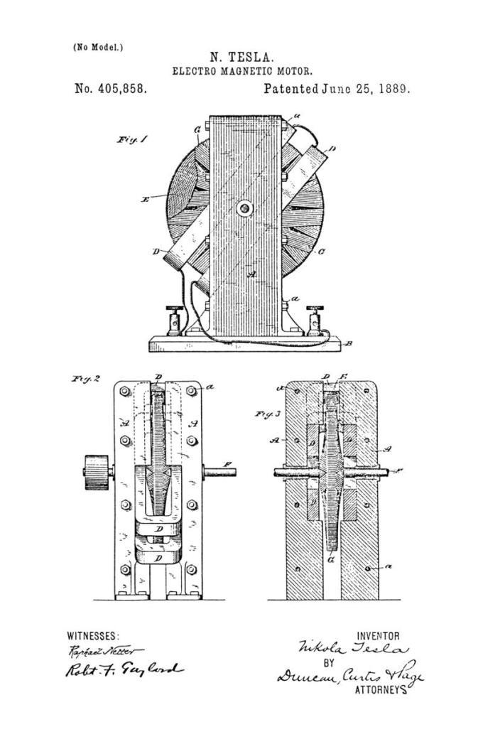 Nikola Tesla Patente de EE. UU. 405,858 - Motor electromagnético - Imagen 1