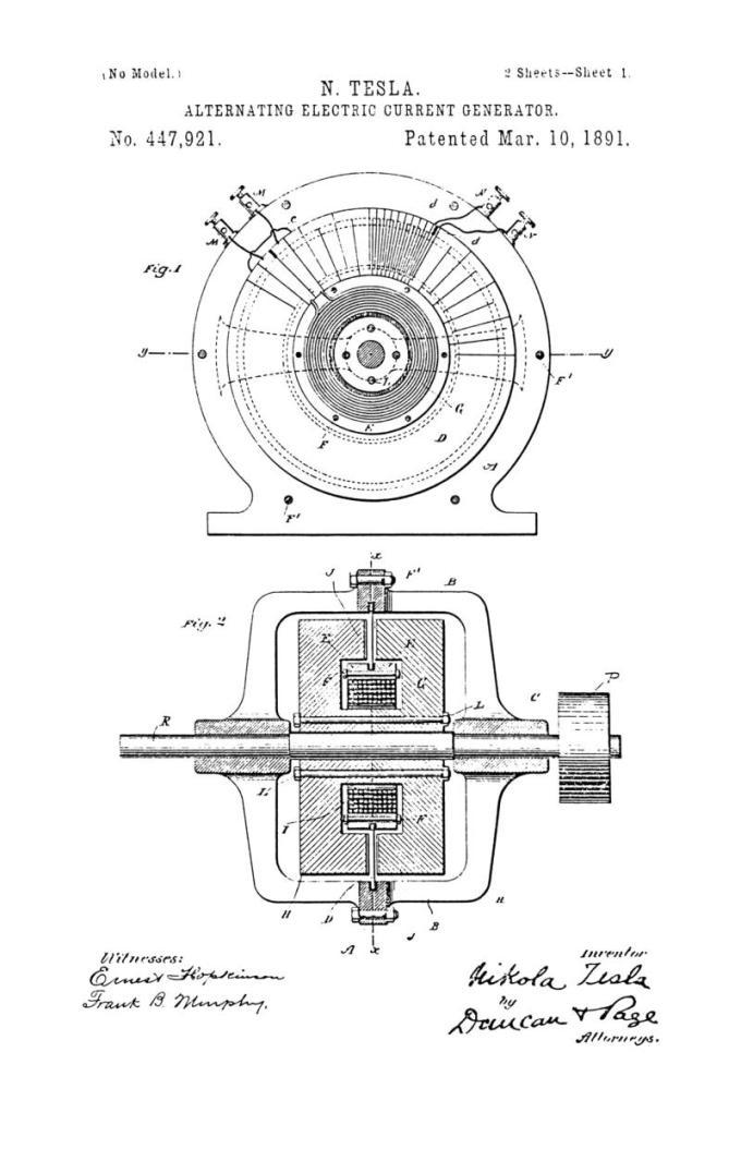 Nikola Tesla Patente de EE. UU. 447,921 - Generador de corriente eléctrica alterna - Imagen 1