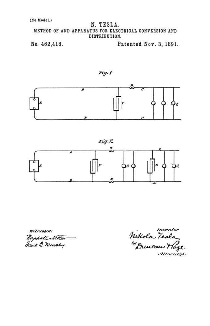 Nikola Tesla Patente de EE. UU. 462,418 - Método y aparato para conversión y distribución eléctrica - Imagen 1