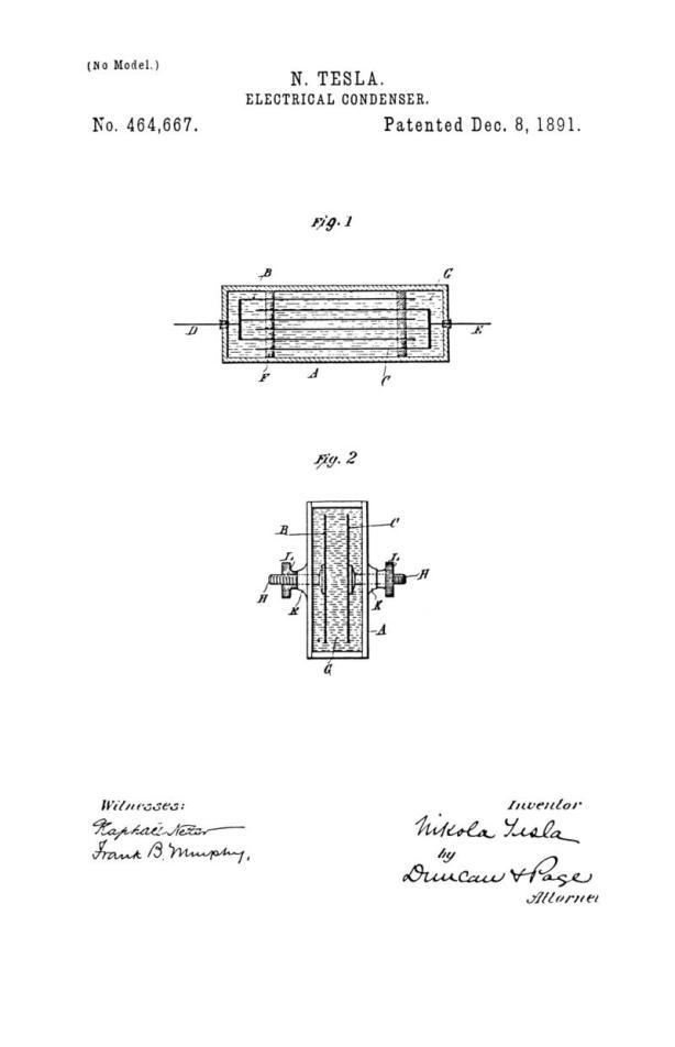 Nikola Tesla U.S. Patent 464,667 - Electrical Condenser - Image 1