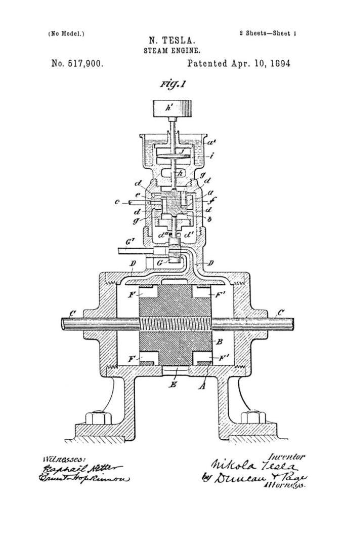 Nikola Tesla Patente de EE. UU. 517,900 - Motor de vapor - Imagen 1