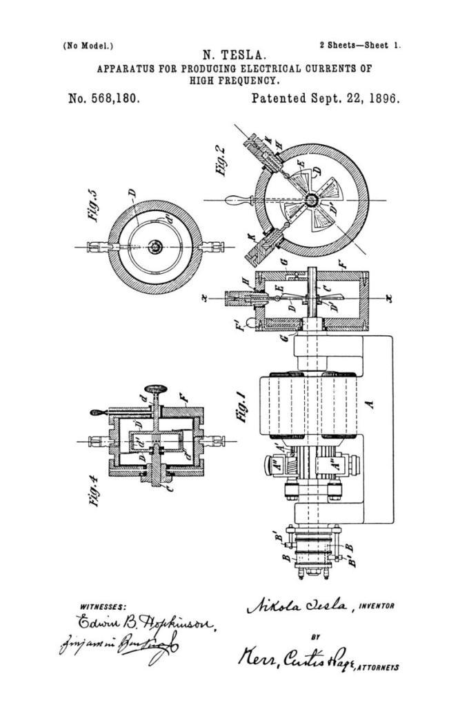 Nikola Tesla Patente de los Estados Unidos 568.180 - Aparato para producir corrientes eléctricas de alta frecuencia - Imagen 1