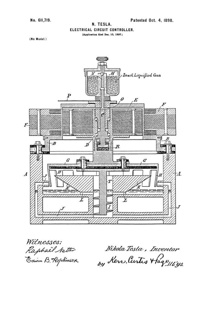 Nikola Tesla Patente de EE. UU. 611,719 - Controlador de circuito eléctrico - Imagen 1