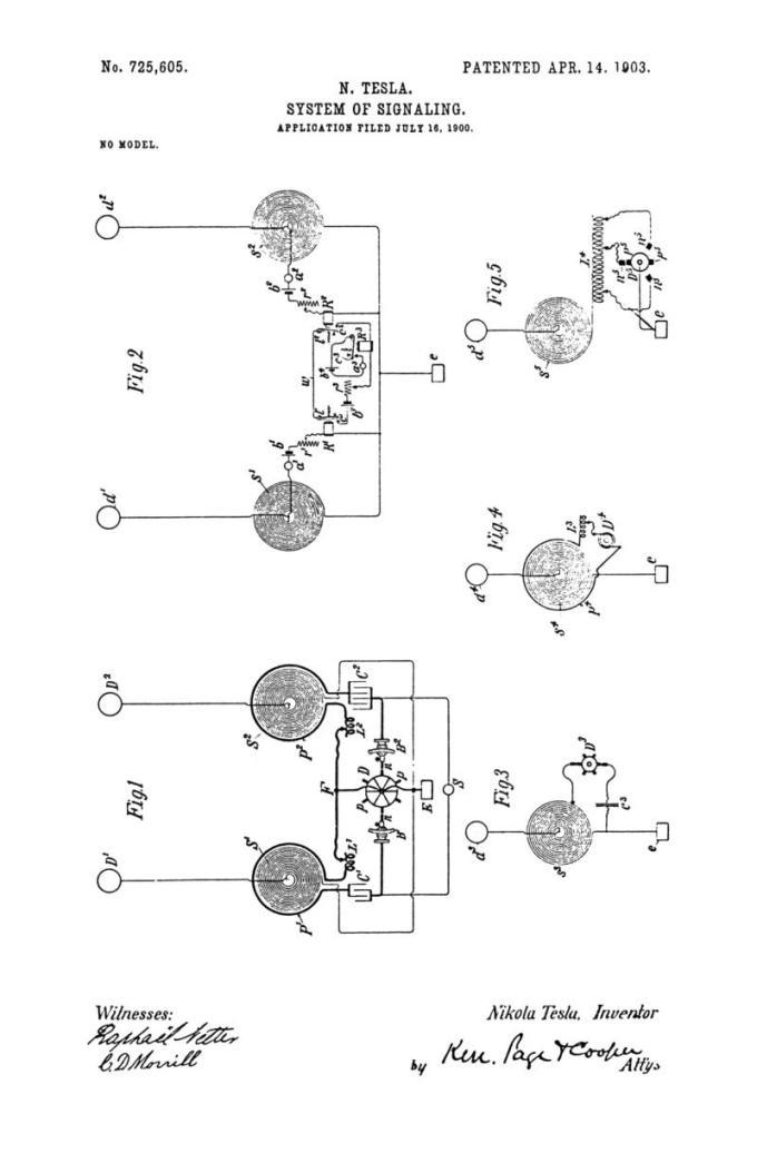 Nikola Tesla Patente de EE. UU. 725.605 - Sistema de señalización - Imagen 1