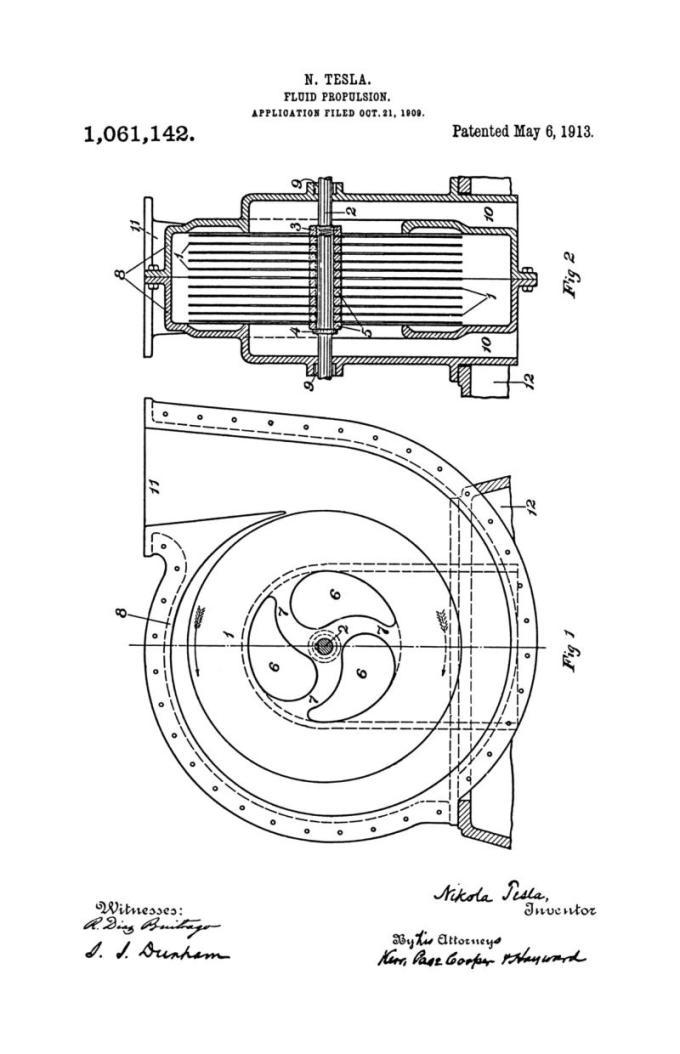 Nikola Tesla U.S. Patent 1,061,142 - Fluid Propulsion - Image 1