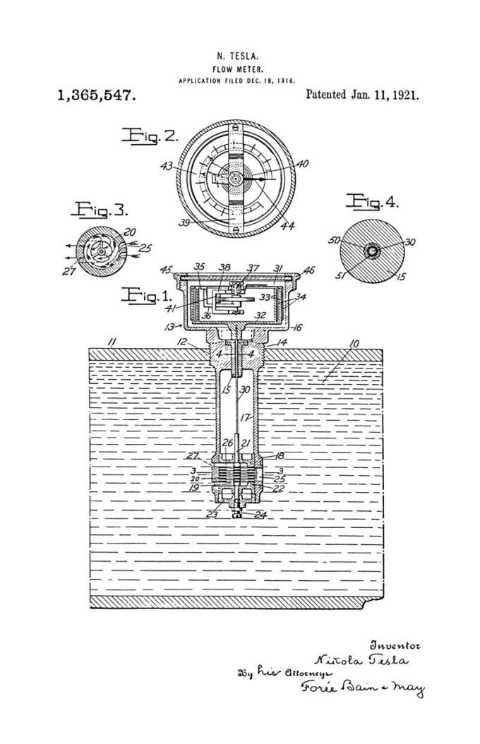 Nikola Tesla Patente de EE. UU. 1,365,547 - Medidor de flujo - Imagen 1