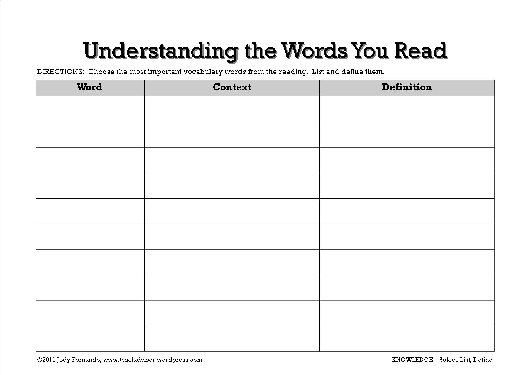 Graphic Organizer For Vocabulary And Reading Comprehension Adventures With Language