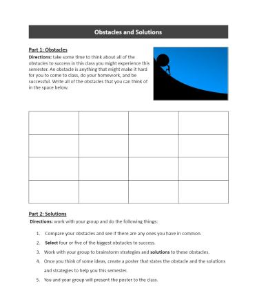 Classroom Community Building Activity: Obstacles and Solutions