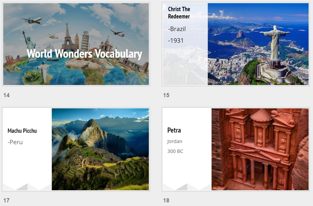 Wonders of the world: Christ the Redeemer, Machu Picchu, and Petra
