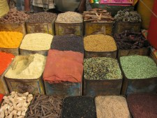 Various spices at a market