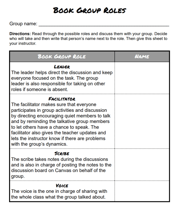 ESL Book Group Roles