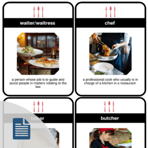 vocabulary cards for jobs