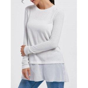 Stylish Scoop Neck Long Sleeve Sequined Chiffon Spliced Women's Sweater
