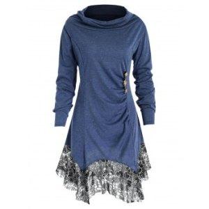 Long Sleeve Lace Trim Tunic T-shirt