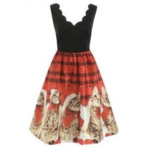 Christmas Cats Musical Notes Print Sleeveless Dress