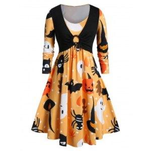 Plus Size Halloween Ghost Pumpkin Print Flare Dress