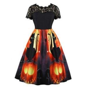 Lace Panel Pumpkin Print Halloween Flared Dress