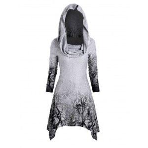 Halloween Tree Print Convertible Collar Asymmetrical Knitwear
