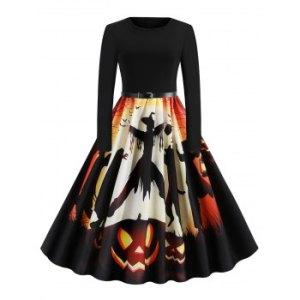 Pumpkin Bat Ghost Belted Halloween Flare Dress