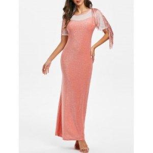 Glitter Mesh Panel Fringed Maxi Bodycon Dress