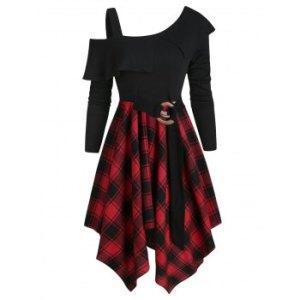 Plaid Skew Neck Belted Handkerchief Dress