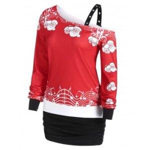 Christmas Claus Grommet Skew Collar Cold Shoulder Sweatshirt