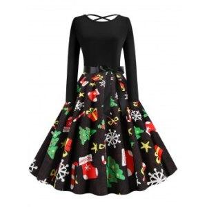 Christmas Berry Santa Claus Gift Stocking Print Dress