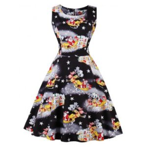 Christmas Santa Claus Star Fit and Flare Dress