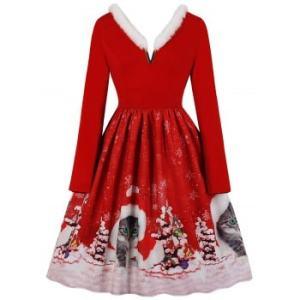 Faux Fur Trim V-notch Christmas Cat Print Dress
