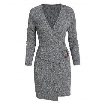 Asymmetric O-ring Ribbed Mini Surplice Sheath Dress