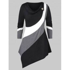 Plus Size Cowl Neck Contrast Color Asymmetric T Shirt