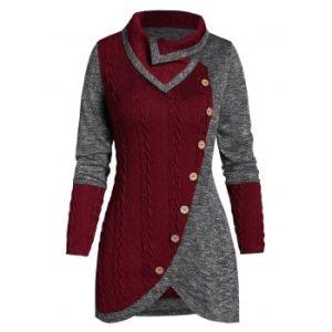 Button Two Tone Turn-down Collar Sweater