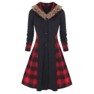 Plus Size Buttons Up Plaid Faux Fur  Skirted Coat