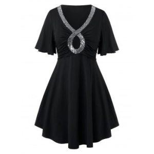 Plus Size Keyhole Sequins Flutter Sleeve T Shirt