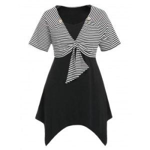 Plus Size Asymmetric Twist T Shirt