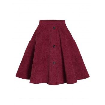 Corduroy Mock Button Pocket Skirt
