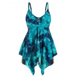 Plus Size Tie Dye Handkerchief Tankini Swimwear