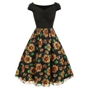 Ruched Sunflower Mesh Panel Dress