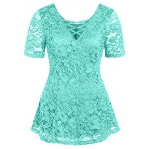 Plus Size Criss Cross Lace Plunge T Shirt