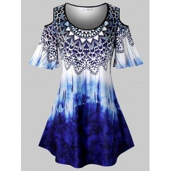 Plus Size Tribal Print Tie Dye Cold Shoulder T Shirt