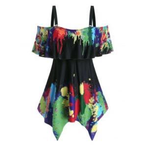 Plus Size Splatter Paint Handkerchief  Two Piece Swimwear